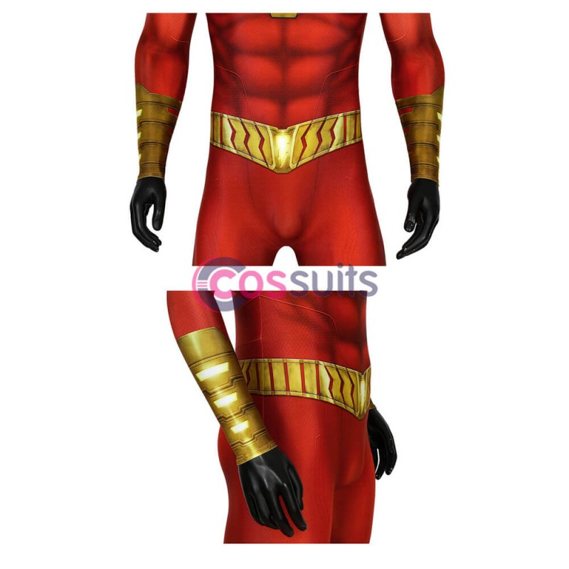 Shazam Billy Batson Cosplay Costume Jumpsuit Cape Full Suit Any Size