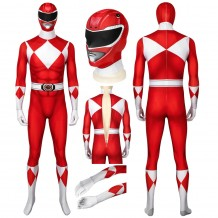 Red Mighty Morphin Suit Power Rangers Cosplay Costume