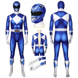 Blue Mighty Morphin Suit Power Rangers Cosplay Costume