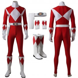 Red Ranger Cosplay Costume Mighty Morphin Power Rangers Cosplay Suit