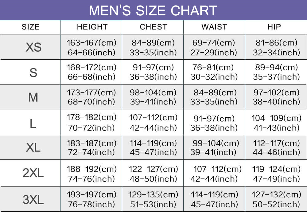 cosplay costumes men size chart